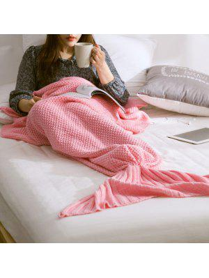 Warm Knitted Mermaid Tail Blanket - Pink L