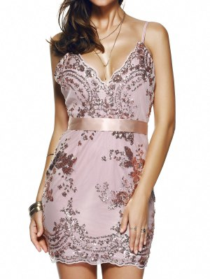 Spaghetti Strap V-Neck Sequined Floral Dress