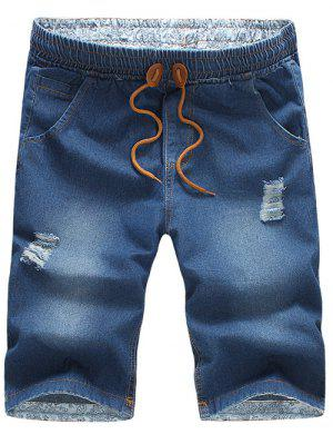 Casual Distressed Design Drawstring Waistband Denim Jeans Shorts For Men