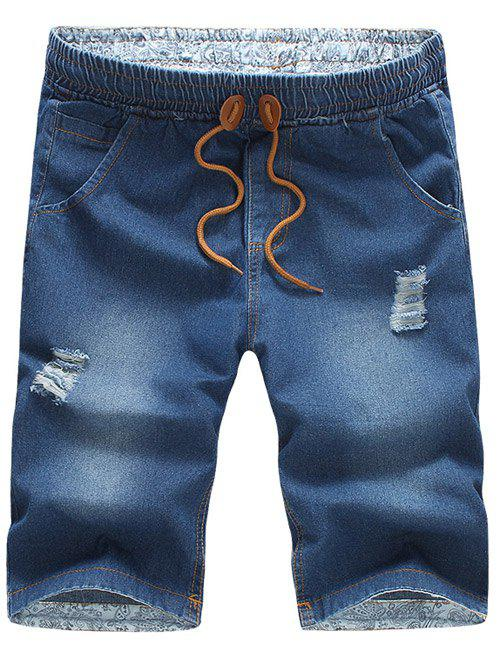 Casual Distressed Design Drawstring Waistband Denim Jeans Shorts For Men 189112614