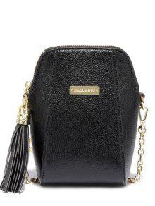 Tassel Chains PU Leather Crossbody Bag - Black