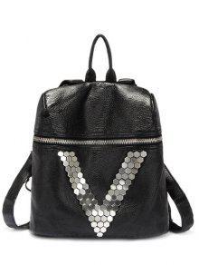 Metal Letter V Black Backpack - Black