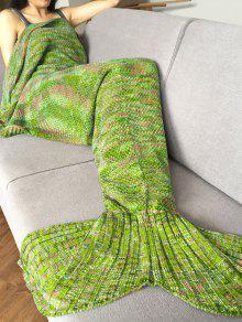 Manta Tejido De Punto Con Estilo Diseño Sirena Para Adultos - Verde Manzana