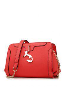 المعادن فوكس حقيبة كروسبودي - أحمر