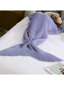 Warm Knitted Mermaid Tail Blanket - Light Purple S