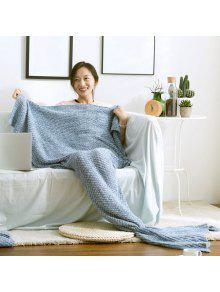 عالية الجودة محبوك أريكة الفراش بطانية الذيل حورية البحر - أزرق L