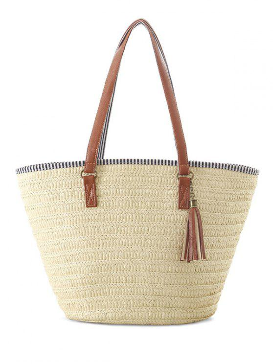 latest Tassels Weaving Striped Shoulder Bag - OFF-WHITE