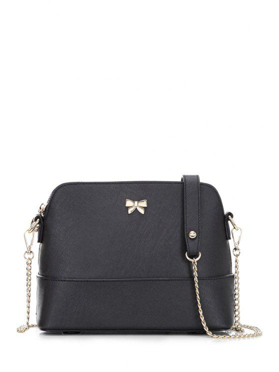حقيبة كتف من الجلد مزينة بفيونكة - أسود