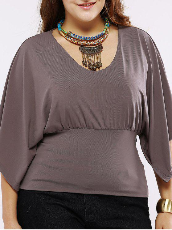 womens Plus Size Chic Batwing Sleeve Ruched Blouse - DARK KHAKI 3XL