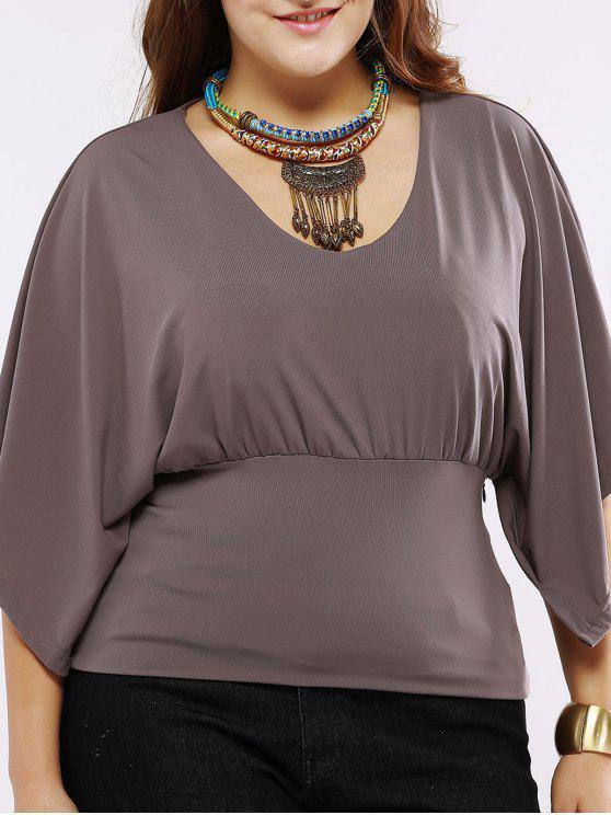 Plus Size Chic Batwing Sleeve Ruched Blouse - Khaki foncée 4XL