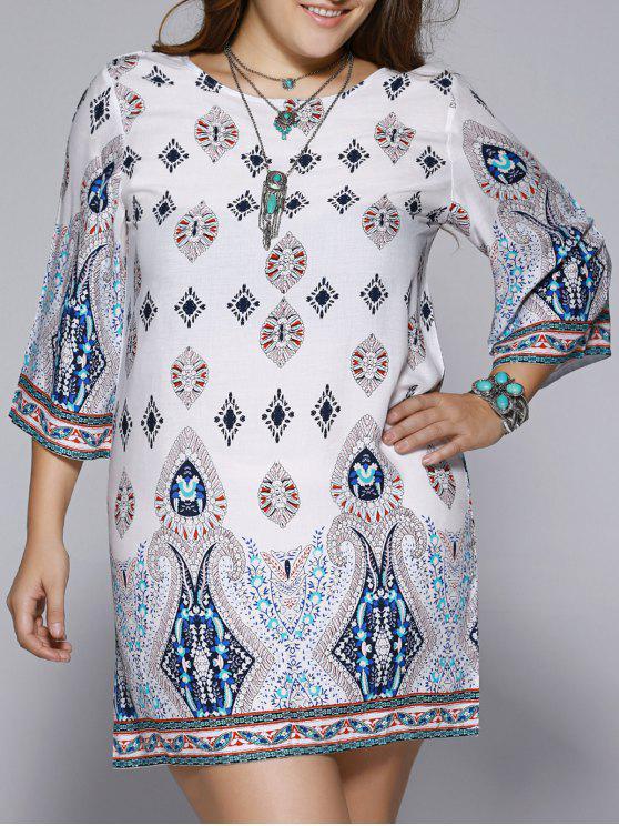 Robe Grande Taille Dos Ouvert Imprimée Ethnique - Multicolore 4XL