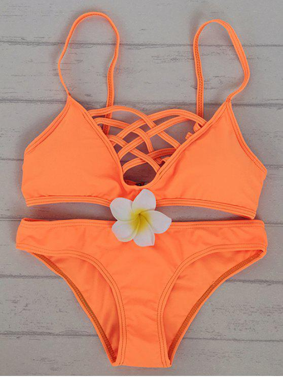 Ensemble Bikini évidé Cami coleur unie - Douce Orange XL