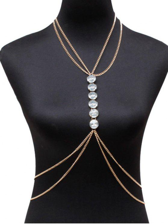shop Faux Crystal Body Chain - GOLDEN