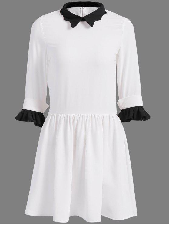 womens 3/4 Sleeves Peter Pan Collar Color Block Dress - WHITE XS