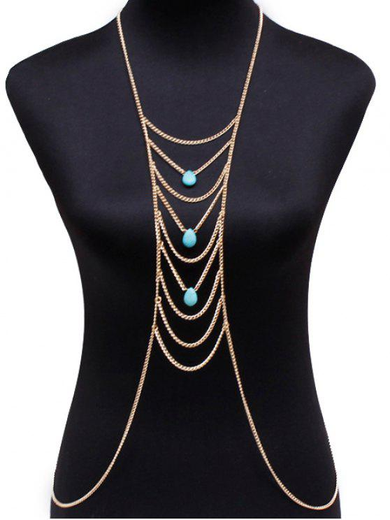 latest Fake Turquoise Water Drop Body Chain - GOLDEN