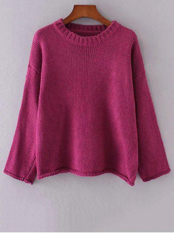 Cuello redondo de manga larga de color sólido que ensanchan suéter - Rojo purpúreo Única Talla