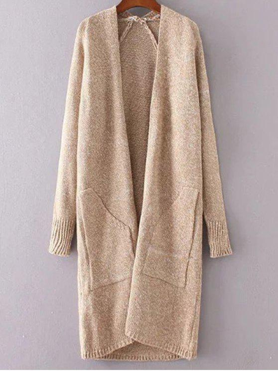 ladies Collarless Long Sleeve Trapezoid Pocket Loose Cardigan - KHAKI ONE SIZE