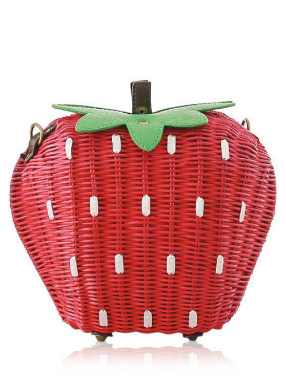 Bolso del bloque del color que teje forma de la fresa - Rojo & Verde
