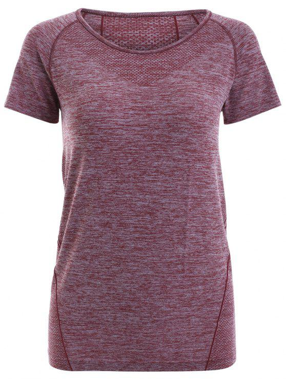 women Raglan Short Sleeve Sport Running Gym T-Shirt - DARK RED S