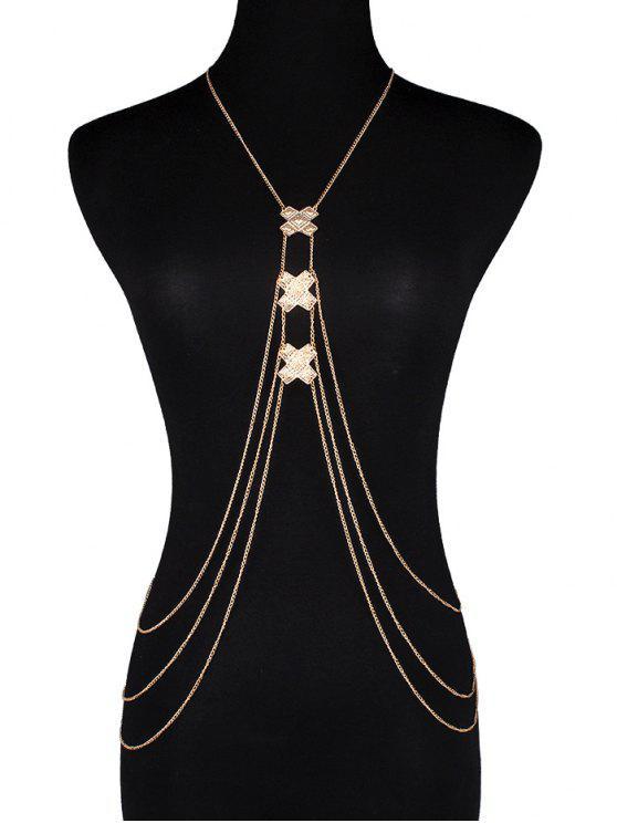 Crossed Fringe Bikini Body Chain - Or