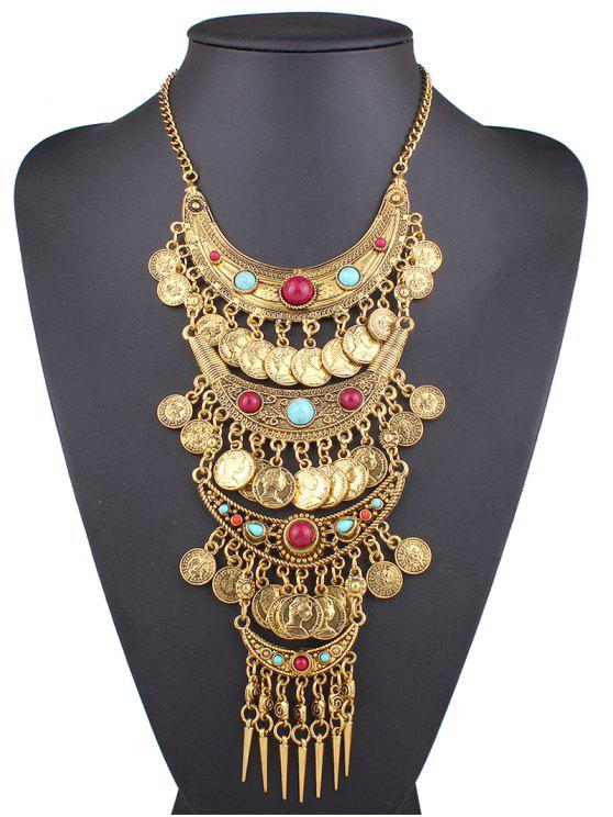online Ethnic Style Coin Statement Necklace - GOLDEN