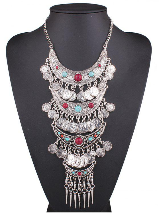 new Statement Coin Fringe Pendant Necklace - SILVER