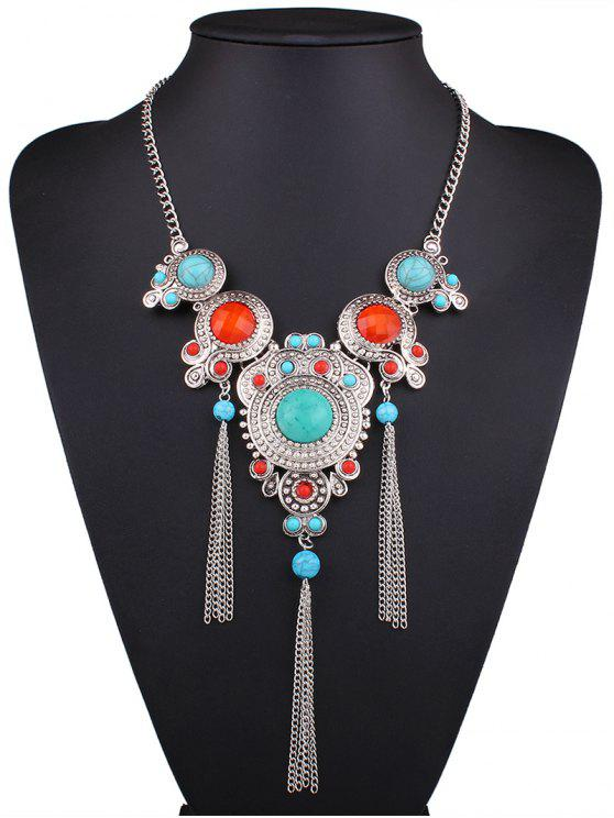 hot Faux Turquoise Fringed Necklace - SILVER