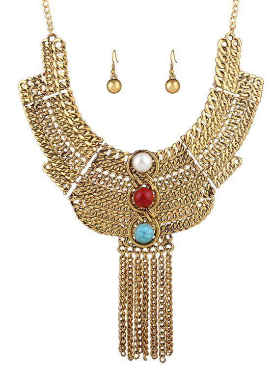 trendy Layered Chain Necklace and Earrings - GOLDEN