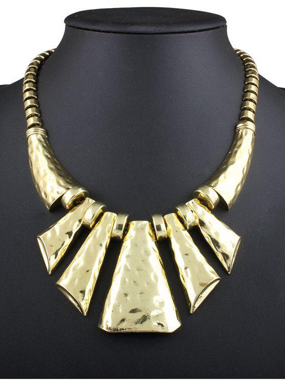 women Hammered Statement Necklace - GOLDEN