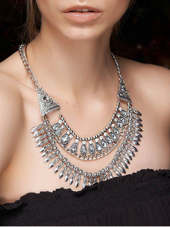 trendy Ethnic Rhinestone Layered Necklace - SILVER