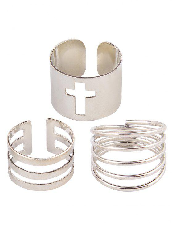 trendy Solid Color Spring Cage Rings - SILVER