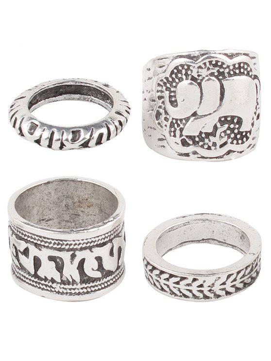 Engraved Elephant Etched Rings - Argent