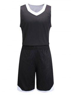 Reversible Style V-Neck Color Block Splicing Sleeveless Sport Suit ( Tank Top + Shorts ) For Men - Black Xl