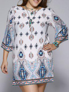 Plus Size Ethnic Print Open Back Shift Dress - 4xl