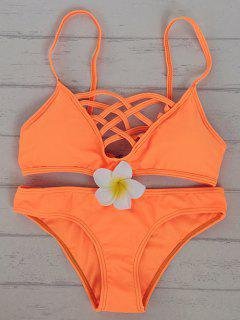 Solid Color Cami Hollow Out Bikini Set - Sweet Orange Xl