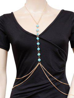 Faux Turquoise Body Chain - Golden