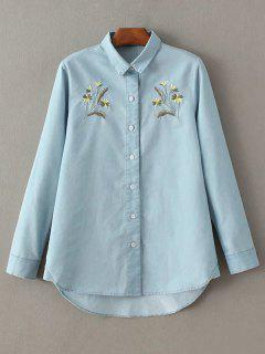 Grass Embroidered Turn-Down Collar Long Sleeve Chambray Shirt - Light Blue S