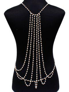 Fake Pearl Layered Body Chain - White