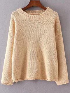 Round Neck Long Sleeve Solid Color Flanging Sweater - Apricot