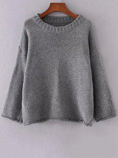 Col Rond Manches Longues Couleur Unie Flanging Sweater - Gris