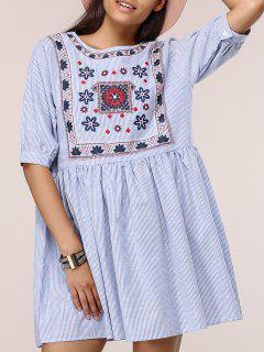 Plus Size Ethnic Dress - Blue Xl