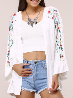 Floral Broderie à Manches Longues Kimono - Blanc S