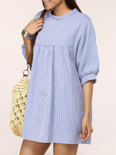 Gingham Check Babydoll Dress - Blue And White