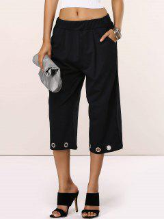 Cropped Straight Leg Pants - Black