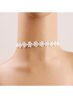 Crochet Flower Lace Choker - White