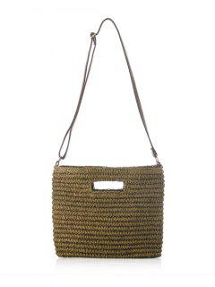 Straw Hollow Out Solid Color Shoulder Bag - Deep Brown