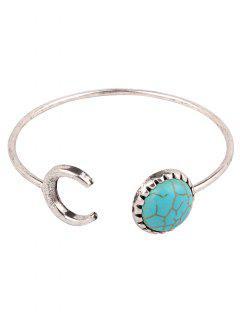Faux Turquoise Crescent Bracelet - Silver