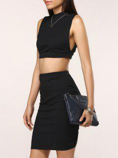 Fitted Crop Top And Skirt - Black L