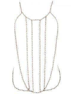 Fake Pearl Bikini Body Chain - Golden
