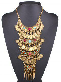 Ethnic Style Coin Statement Necklace - Golden